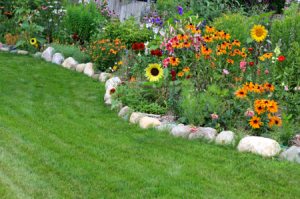 How to Edge Flower Beds with Landscape Rocks - gardens.